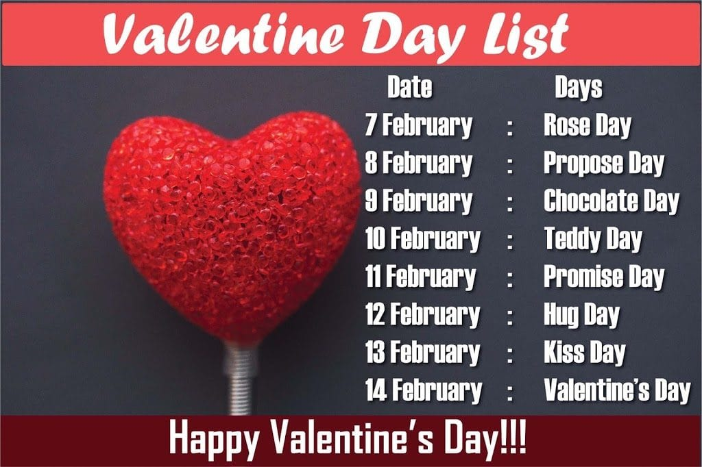 Valentine Day Week List 2021